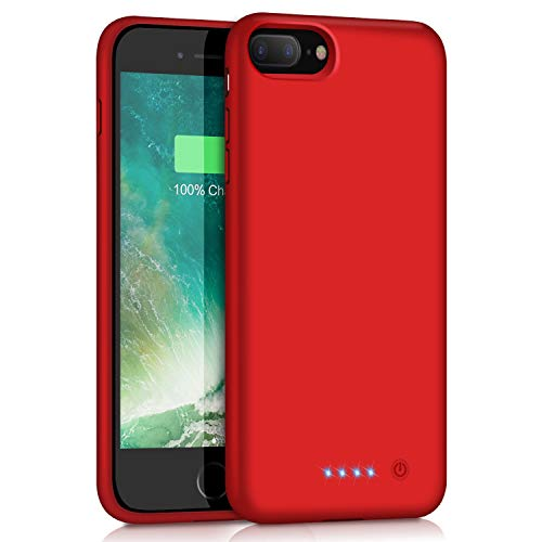 VOOE Battery Case for iPhone 7 Plus/ 8 Plus, 8500mAh Portable Battery Smart Pack Rechargeable Protective Battery Case for iPhone 7 Plus/ 8 Plus External Charger Cover 5.5 inch Charging Case - Red