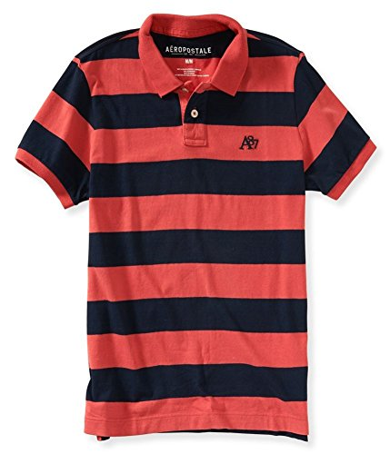 Aeropostale Mens Striped A87 Rugby Polo Shirt 991 ()