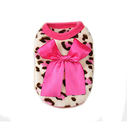 OOEOO Pet Dog Clothes, Puppy Warm Bow Leopard Thickening Vest Apparel Costume (Pink,L)]()