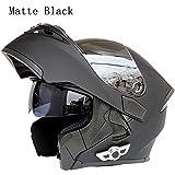 MOPHOTO Bluetooth Integrated Motorcycle Helmets, Anti-Glare Full Face Flip up Dual Visors Modular Bike Motorcross Helmets Intercom Helmet/Rider to Rider, Matte Black XLarge (61-62cm)