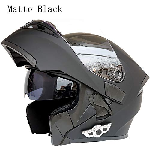(MOPHOTO Bluetooth Integrated Motorcycle Helmets, Anti-Glare Full Face Flip up Dual Visors Modular Bike Motorcross Helmets Intercom Helmet/Rider to Rider, Matte Black Medium)