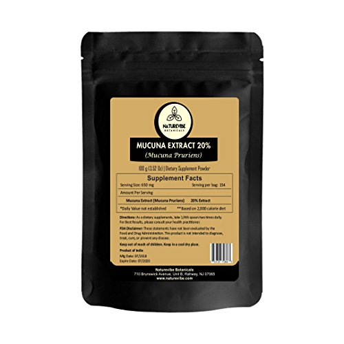 - Organic Mucuna Extract Powder (100 Gram) - Mucuna Pruriens - 20% L-Dopa Source   Gluten Free and Non-GMO   Bolsters Libido   Promotes Energy and Endurance   Aphrodisiac Supplement
