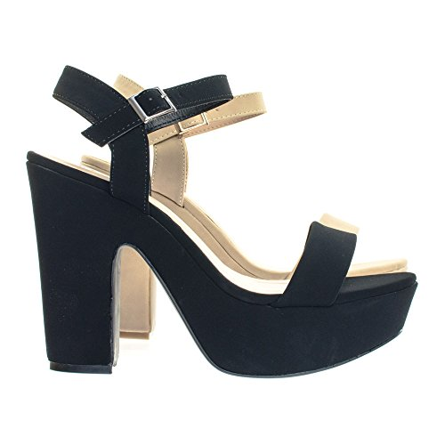 Bamboo 70s Retro Single Cut Platform Chunky Block Heel Open Dress Sandal