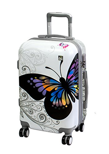 with amp; Carry Suitcase Airplanes A2S 8 Luggage Wheels Polar Durable Lightweight on Butterfly Hard Cabin 55x35x22cm Bag Shell Bear Spinner White Z8xx70tfqw