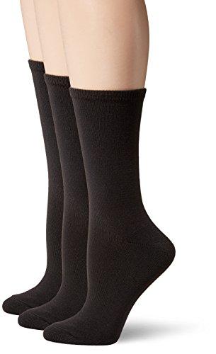 Hanes Women's ComfortSoft Crew Socks 3-Pack, Black, Shoe Size: 8-12