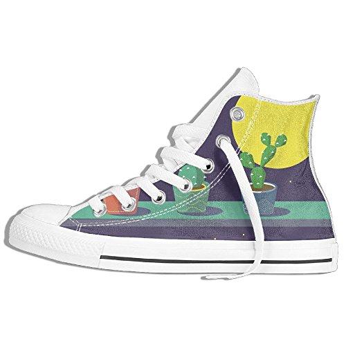 Classiche Sneakers Alte Scarpe Di Tela Anti-skid Cactus Moon Casual Da Passeggio Per Uomo Donna Bianco