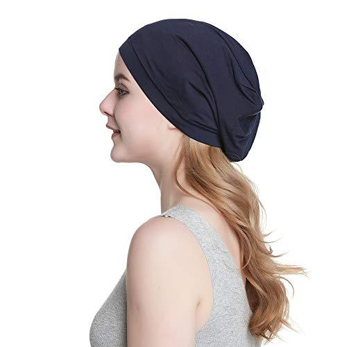 (Cozy Satin Lined Hat Slumber Cap Slouchy Skull Hat Cotton Bonnet)
