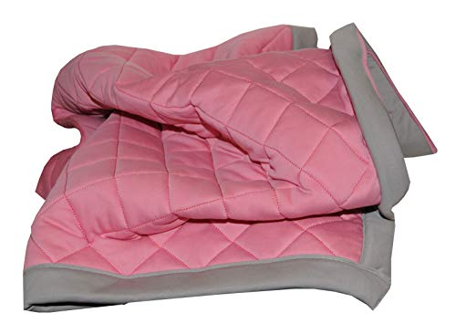 Quilted Thermal - Fuzzies Quilted Thermal Baby Blanket for Girls | Doubled-Sided, Pink and Gray | Buttery Soft, Breathable Cotton Infant/Toddler Quilt Throw Blanket | Warm, Peaceful Sleeping in Crib - 36 x 36