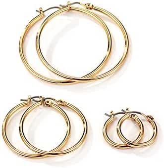 Neolgory Jewelry Gold Color Plated Trio Round Small Medium Large Three Earrings Sets for Sensitive Ears