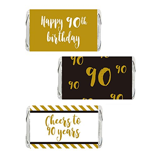 Gold 90th Birthday Miniatures Candy Bar Wrapper Stickers, Party Favor Labels, 54 (90th Birthday Invitations)