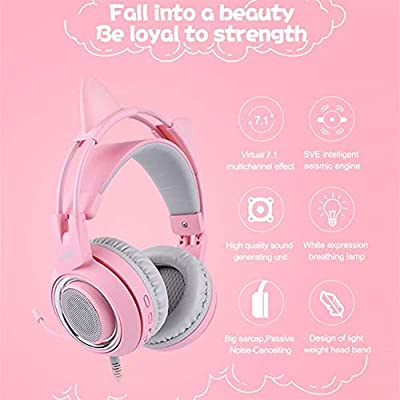 HUOGUOYIN Gaming Headset 7 1 Headset Surround Sound Gaming Headphone Bass Casque With Cat Ear Mic Vibration For Notebook Pink Kids Girl Computer headset  Color Pink air bag Package