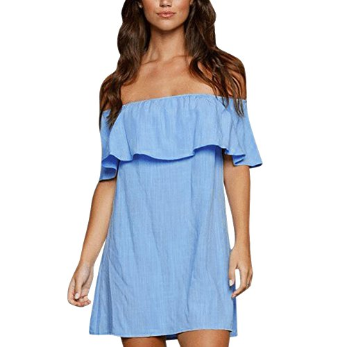 Price comparison product image Diamondo Women Summer Casual Short Mini Off Shoulder Strapless Ruffle Dress (Asian XL)