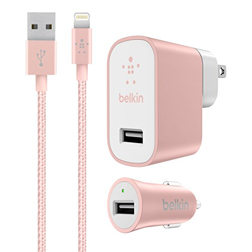 Belkin Charger Kit for iPhone & iPad - Retail Packaging - Rose Gold (Home Belkin Kit And Car Charger)