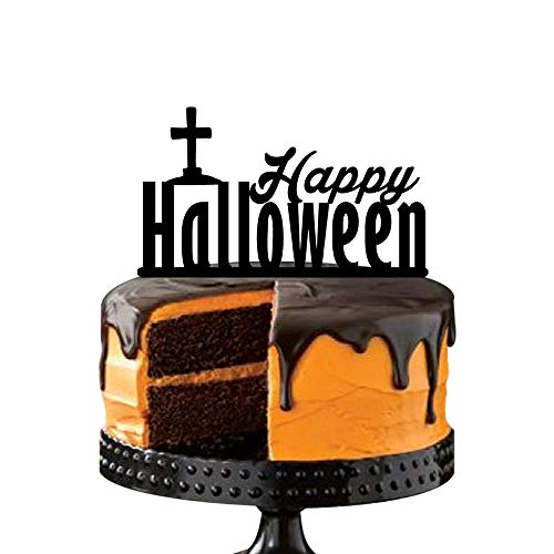 Happy Halloween Cake Toppers,Cemetery Cross, Monogram Black Silhouette Acrylic Party Decorations