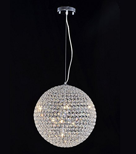 8 Light Round Crystal Ball Pendant Light in Chrome Finish with Clear Crystal (Light Chrome Pendant Eight)