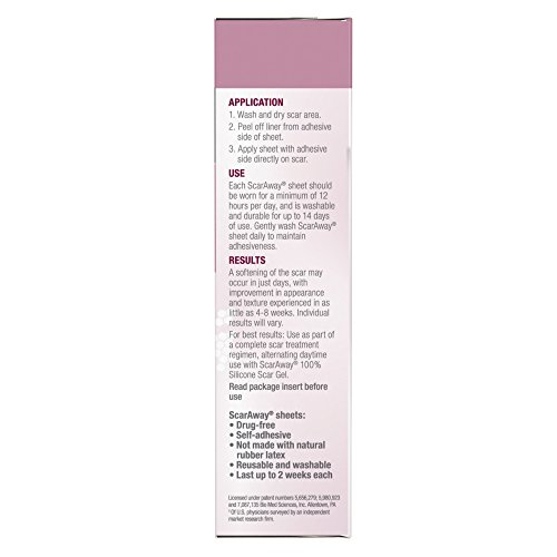 ScarAway C-Section Scar Treatment Strips, Silicone Adhesive Soft Fabric 4-Sheets (7 X 1.5 Inch) by ScarAway (Image #5)