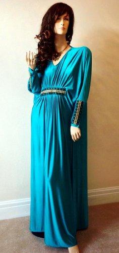 Cool Kaftans 2 Piece Batwing Embellished Ladies Long Silky Dress Hijab : Blue
