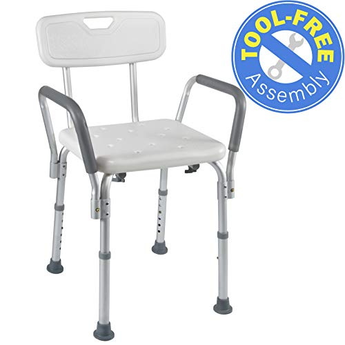 Medical Tool-Free Assembly Spa Bathtub Shower Lift Chair, Portable Bath Seat, Adjustable Shower Bench, White Bathtub Lift Chair with Arms ()
