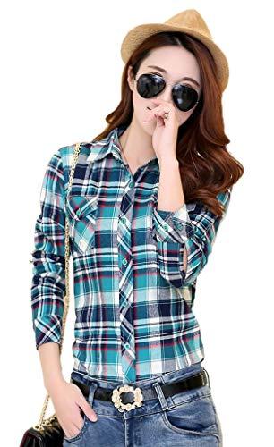 Vogue Chemisier Shirt Manches Blouse Femme Longues Bleu Jixin4you Tops Beige Fonc Dcontract Carreaux T axHqCwp