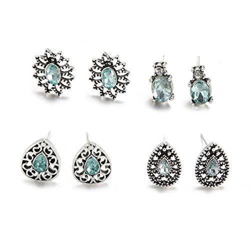 Rurah Womens Exquisite Fashion Jewelry Flower Earring Water Drops Shape Stud Crystal Diamond Earring for Girl