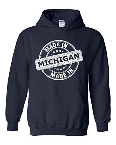 Made In MI Michigan Map Detroit Flag Wolverines Home Of University Of Unisex Hoodies - In Michigan Shopping Detroit