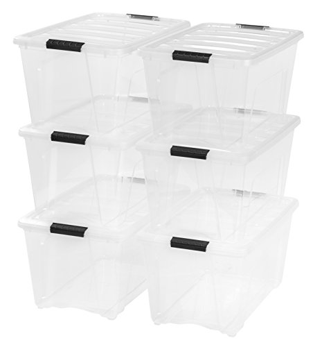 IRIS 53 Quart Stack & Pull Box, 6 Pack, Clear (Containers Plastic Tote)
