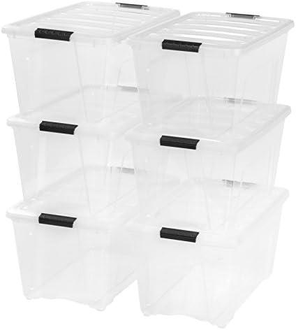 IRIS USA 53 Quart Stack & Pull Box, 6 Pack, Clear (100263)