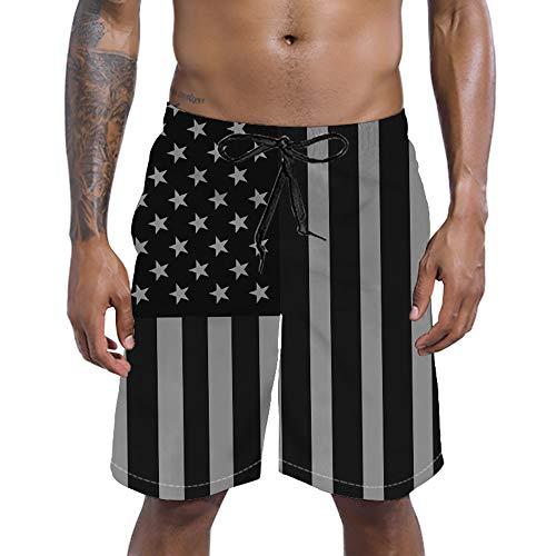 RAISEVERN Quick Dry Swim Shorts with Mesh Lining 3D American Flag Printed Beachwear Summer Holiday Swim Trunks for Men ()