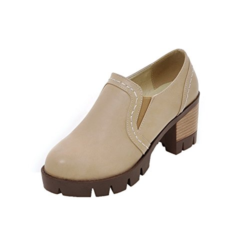 AalarDom Femme Tire Rond à Talon Correct Couleur Unie Chaussures Légeres Abricot cyii0