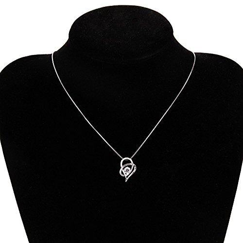SOMEN TUNGSTEN Sterling Silver I Love You to The Moon and Back Cubic Zirconia Necklace Heart Pendant by SOMEN TUNGSTEN (Image #1)