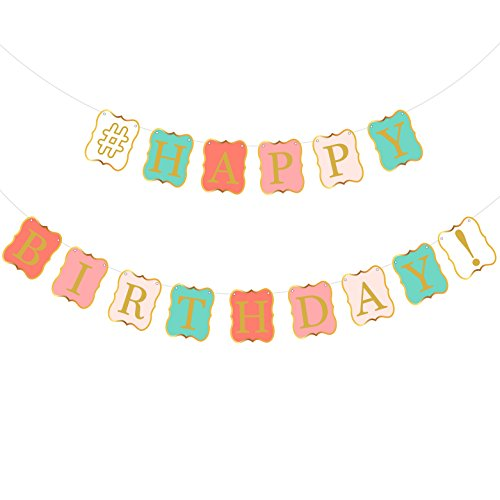 Pastel Mint - Peach Mint Happy Birthday Banner - Mint Green, Peach, Pastel Pink and White Bunting Banner Sign | Gold Foil Printed Letters,Borders | Birthday Party Supplies, Birthday Decorations for Peach Mint Theme