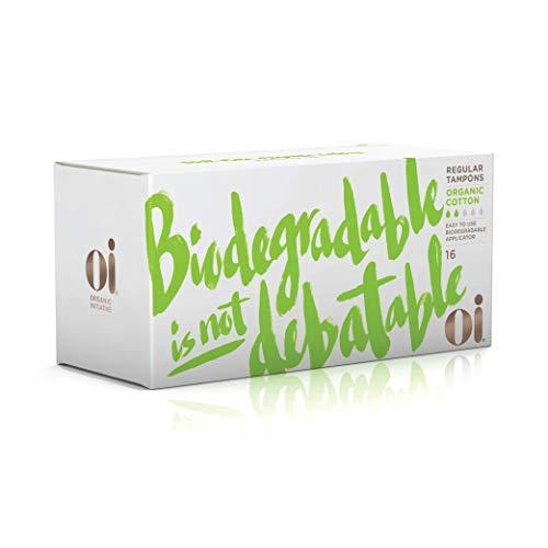 Oi Certified Organic Cotton Tampons | Box of 16 Regular Tampons | Cardboard Applicator