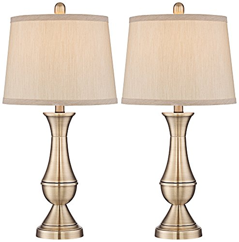 Becky Brass Table Lamp 9 Watt LED Bulbs Set of 2 - A19 Brass Table Lamp
