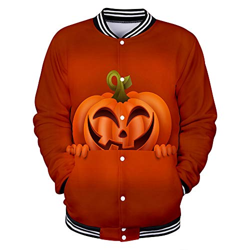 (NIUQI Mens Casual Scary Halloween Lover 3D Print Party Long Sleeve Coat Top Blouse)
