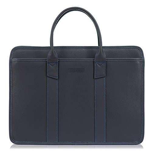 Lotuff Men's Genuine Leather Formal Briefcase 14 Inch Laptop Bag One Size Navy by LOTUFF