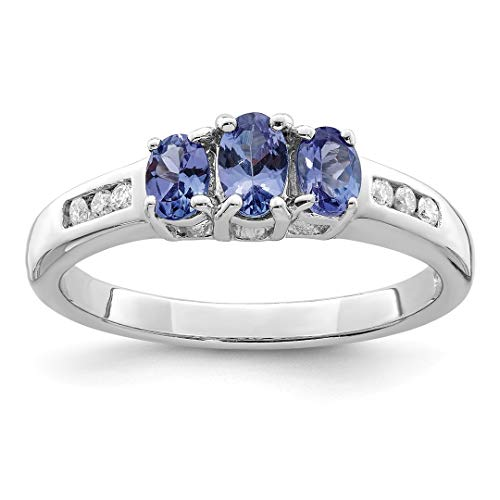 Bands Diamond Gemstone (925 Sterling Silver Blue Tanzanite Diamond Band Ring Size 8.00 Stone Gemstone Fine Jewelry Gifts For Women For Her)