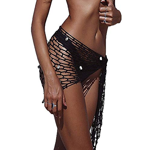 Women's Flowy Net Hollow Out Crochet Triangle Bikini Swimsuit Cover Up Wrap Scarf Adorned with Shell ()