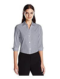 Foxcroft NYC Women's Pinpoint Oxford Shirt Non-Iron Stretch Poplin Blouse (Small, Silver)