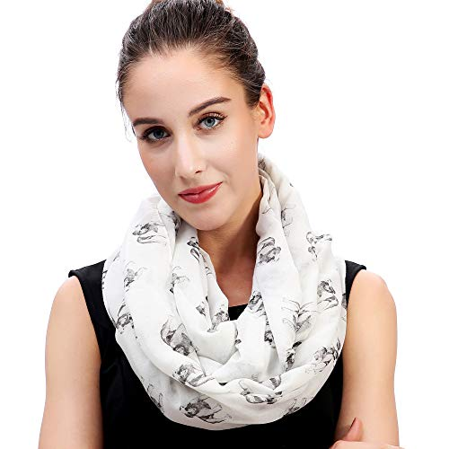 Lina & Lily Sketch of Dogs Print Womens Infinity Scarf Lightweight (Bulldog-White)