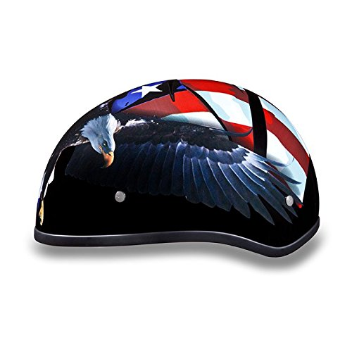 DOT Motorcycle Half Helmet with US Flag and Eagle (Size S, SM, Small)
