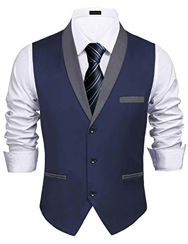 Daupanzees Mens Business Waistcoat Suit Dress Vest Denim Regular Fit Wedding Party Easy Care Linen-Blend Vest (Navy Blue -