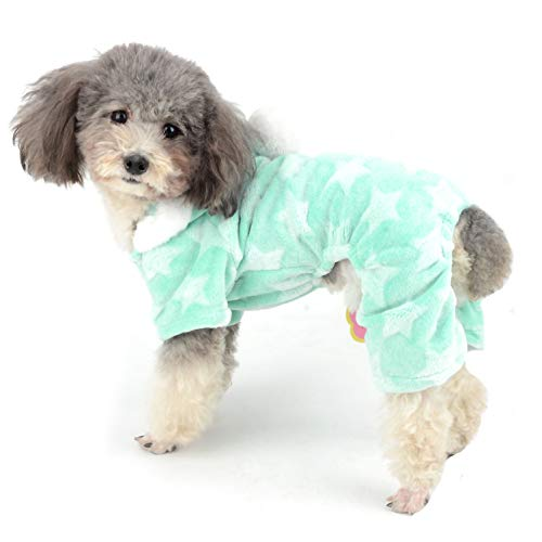 - Ranphy Dog Pajamas Fleece Overall Winter Jumpsuit Girl Pet Pjs Hoodie Chihuahua Clothes Puppy Pyjamas Outfit Doggy Christmas Costume Yorkie Apparel for Small Dog Cat Green M