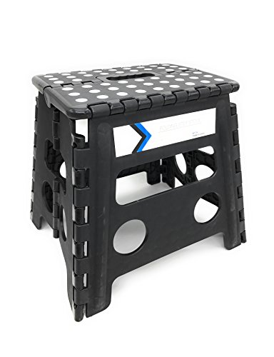 Folding Step Stool 13 Inches Height by Myth with Anti-Slip Surface Great for Kitchen, Bathroom, Bedroom, Kids or Adults Super Strong Holds Up to 330 LBS (BLACK) by MYTH21