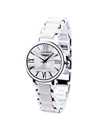 Time100 Fashion Round Ceramic Metal Waterproof 30M Quartz Ladies Bracelet Watch #W50190L.01A(silver)