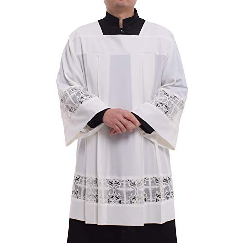 BLESSUME Catholic Pleated Lace Surplice Liturgical Cotta Vestment (XL) White