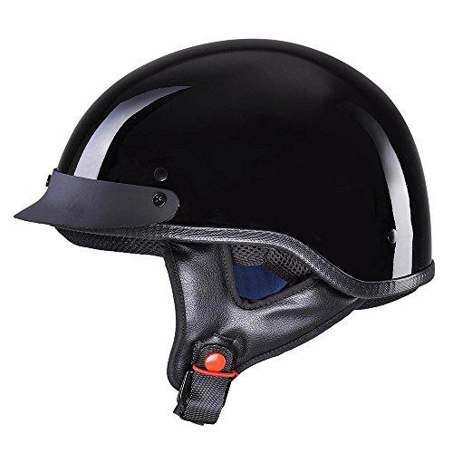 Yescom Motorcycle Half Face Helmet DOT Approved Bike Cruiser Chopper High Gloss Black S