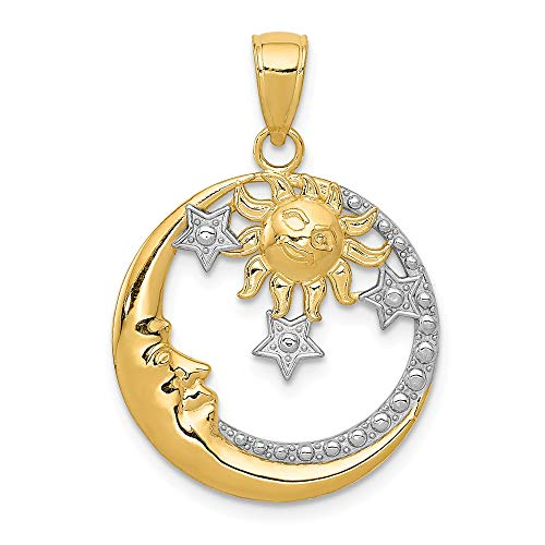 14k Yellow Gold Moon Stars Sun Pendant Charm Necklace Celestial Fine Jewelry Gifts For Women For Her ()
