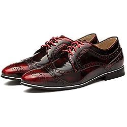 OPP Men's Retro Oxford Leather Shoes Dress Designer (44 EU, Red)