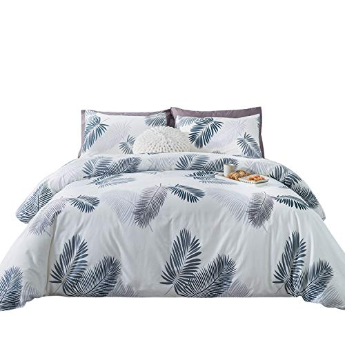 SUSYBAO 3 Pieces Duvet Cover Set 100% Natural Cotton King Size White and Gray Palm Tree Tropical Botanical Feather Bedding with Zipper Ties 1 Duvet Cover 2 Pillowcases Luxury Quality Soft Breathable