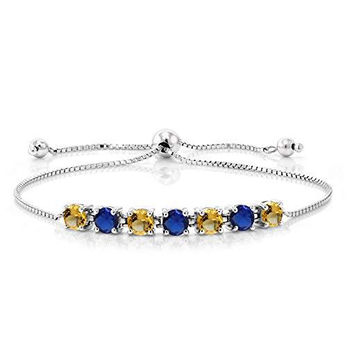 Blue Sapphire Quartz Bracelet - Gem Stone King 2.33 Ct Round Yellow Citrine Blue Simulated Sapphire 925 Silver Bracelet